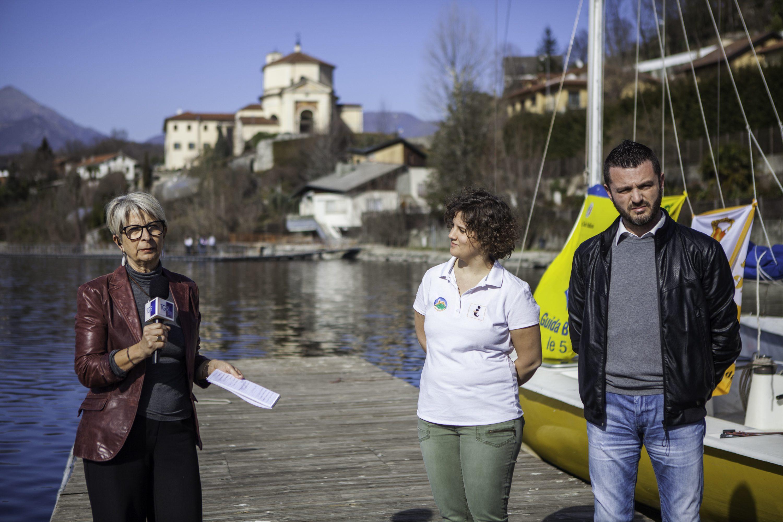 La giornalista del Tgr Rai del Piemonte Milena Boccadoro insieme ad Alessandra Biglietti dell'ufficio turistico di Avigliana e Marco Giavelli, redattore di Luna Nuova